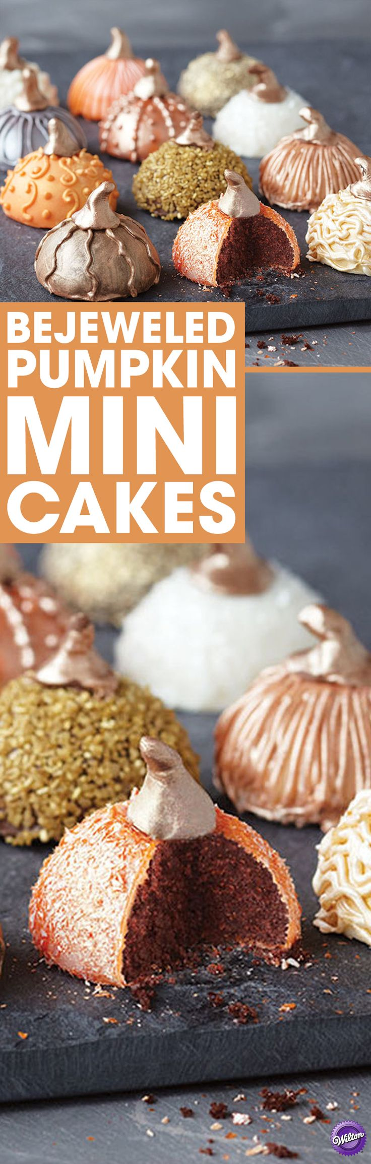 Make these pretty bejeweled pumpkin mini cakes to serve at your Thanksgiving or any fall celebration! These mini cakes have shimmering detail to break through the fog of fall. Use our cake ball pops recipe to create the shape and Pearl Dust, Color Mist and pearlized sugar to add the shining touches.