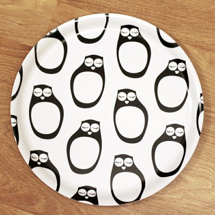 PaaPii Design - Pyöreä tarjotin Nukkuvat pöllöt