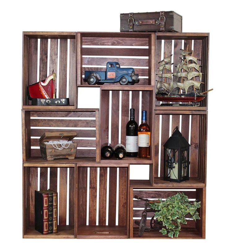 Muebles reciclados hechos con cajas de frutas - Cajas para estanterias ...