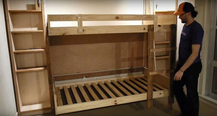 Diy Murphy Bunk Bed This Is Just An Awesome Idea If You Watch The Video They Put White Boards On The Under Side Of Th Murphy Bunk Beds Bunk Beds Diy