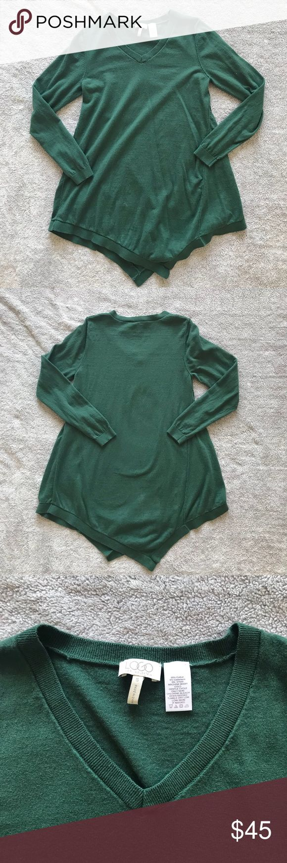 LOGO Cotton Cashmere Asymmetrical Hem Sweater Sz S 🎀 LOGO By Lori Goldstein Cotton Cashmere Asymmetrical Hem Sweater 🎀 Style number A234534 on qvc.com, beautiful pine green top with cashmere! QVC sizing is different, pictured above but top is best for size 6-8.  🎀 Fabric pictured 🎀 Sz S, Measurements pictured above, in inches, taken laid flat 🎀 EUC, no wear/tear/damage to note 🎀 Smoke free, cat friendly home 🎀 No trades 🎀 Buy with confidence! Item identical to pictures & description…