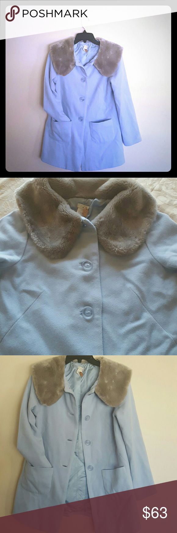 """Anthro coat For sale  cutest Anthropologie coat.  This coat is baby blue with soft gray collar around neck to keep you warm. Almost excellent condition  ( small stain & smaller hole see las picture) Two retro style front pockets , no slit opening  Little flare at the bottom  Size 8 but fits more like small  Pit to pit approximately 36"""" Lenght 28 Waist 40 100% wool,  fully  lined Anthropologie Jackets & Coats Pea Coats"""