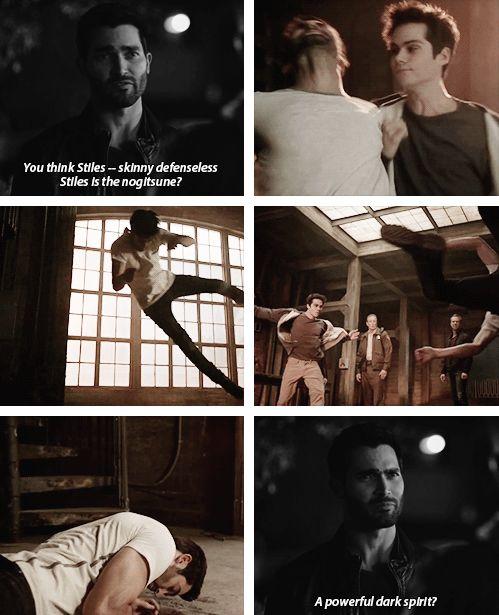 Stiles in the spotlight! Lol so Powerful! Now Derek quakes in his fur!
