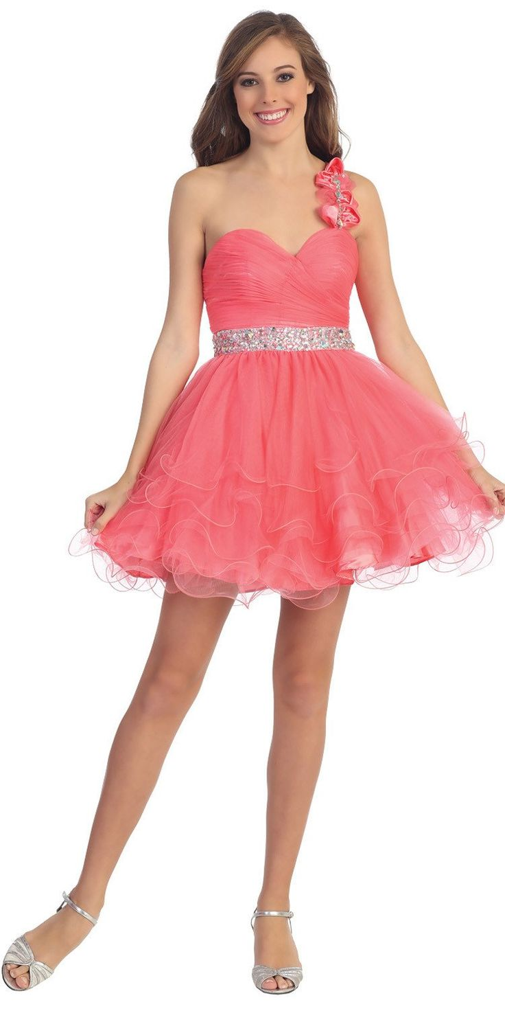 CLEARANCE - Coral Homecoming Dress Poofy One Shoulder Coral (Size Small)