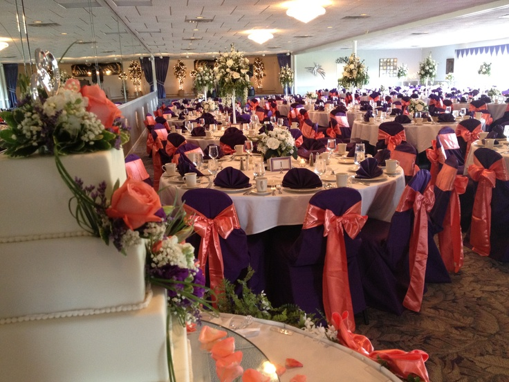 Coral And Purple Wedding The Flowers In Center Are White