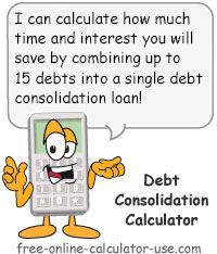 Consolidate Debt Calculator: This free online calculator will calculate the loan consolidation consequences of combining all of your debts into a single loan payment. The results will include a chart comparing the payoff time and interest cost with and without consolidating. But before you use the calculator, please read the page to make sure you are fully aware of the debt consolidation pros and cons.