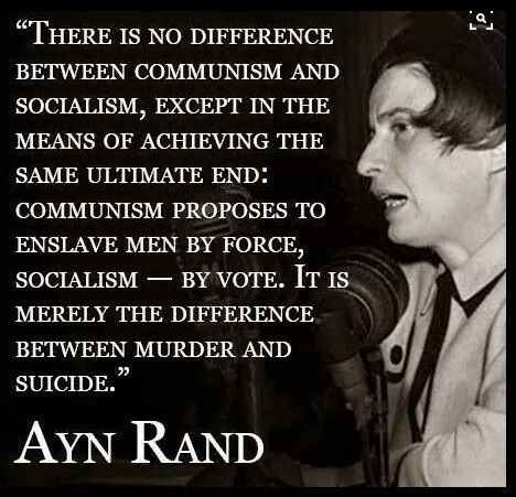"""Merely the difference between murder and suicide."" - Ayn Rand"