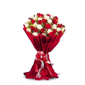 Bunch of 50 red and white roses with lots of seasonal fillers put into a bunch in rich red paper wrapping and a matching ribbon. http://www.tajonline.com/valentines-day-gifts/product/v2499/charming-celebration/?aff=pint2014/