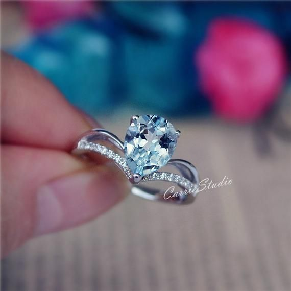 Excellent Quality Aquamarine Ring With White Zircon Wedding Ring Anniversary Ring in Sterling Silver For Woman Engagement Ring Birthday Gift