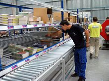 The order picking or order preparation operation is one of a logistic warehouse's process.[1] It consists in taking and collecting articles in a specified quantity before shipment to satisfy customers' orders. It is a basic warehousing process and has an important influence on supply chain's productivity. This makes order picking one of the most controlled logistic processes.