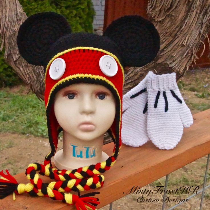 Crochet Mickey Mouse Hat with Gloves $40 - www.facebook.com/MistyFrostHR