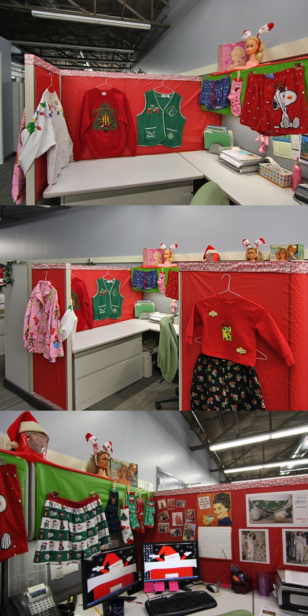 Decorated Cubicles for Christmas with cute little clothes. #