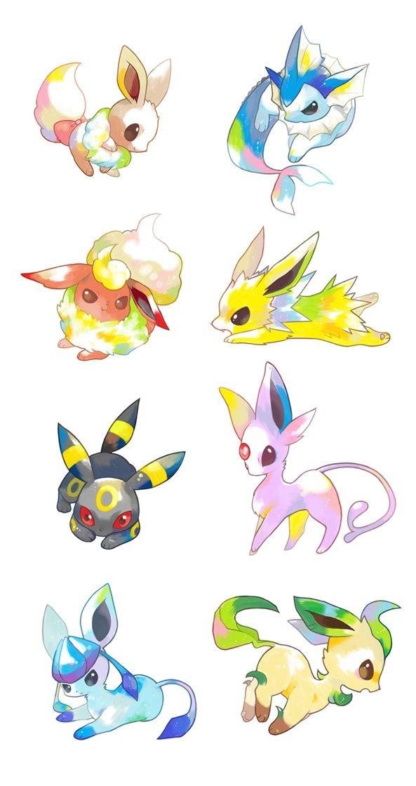 Eevee evolutions ... eevee, vaporeon, flareon, jolteon, umbreon, espeon, glaceon, leafeon, pokemon: