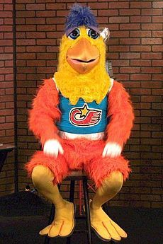 The San Diego Chicken, also known as The Famous Chicken, the KGB Chicken or just The Chicken, is an advertising mascot played by Ted Giannoulas.
