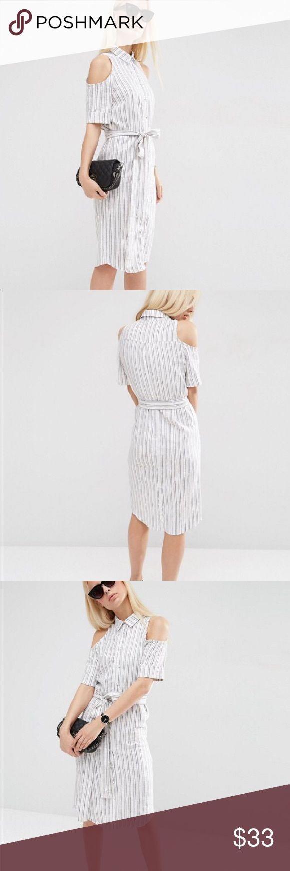 NWT ASOS shirt dress NWT ASOS cold shoulder shirt dress in stripe. Never came with the belt! ASOS Dresses Midi