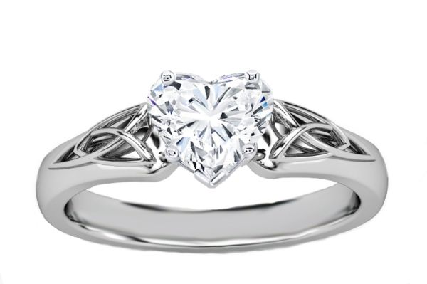 Engagement Ring - Heart Diamond Triquetra Celtic Engagement Ring in 14K White Gold - ES835HSWG by Heidi-Vogel