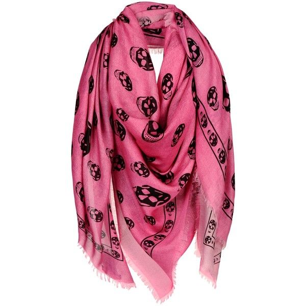 Alexander Mcqueen Square Scarf (3.175 DKK) ❤ liked on Polyvore featuring accessories, scarves, fuchsia, square scarves, alexander mcqueen, alexander mcqueen scarves and alexander mcqueen shawl