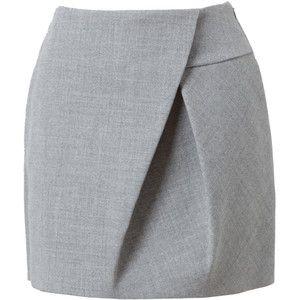 3.1 PHILLIP LIM Asymmetric Folded Wool Miniskirt
