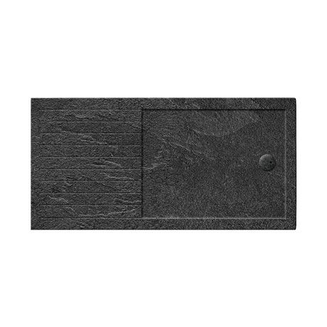Simpsons Walk In 35mm Grey Slate Acrylic Shower Tray with Drying Area