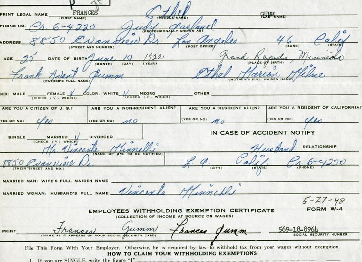 Judy Garland's 1948 tax withholding form.