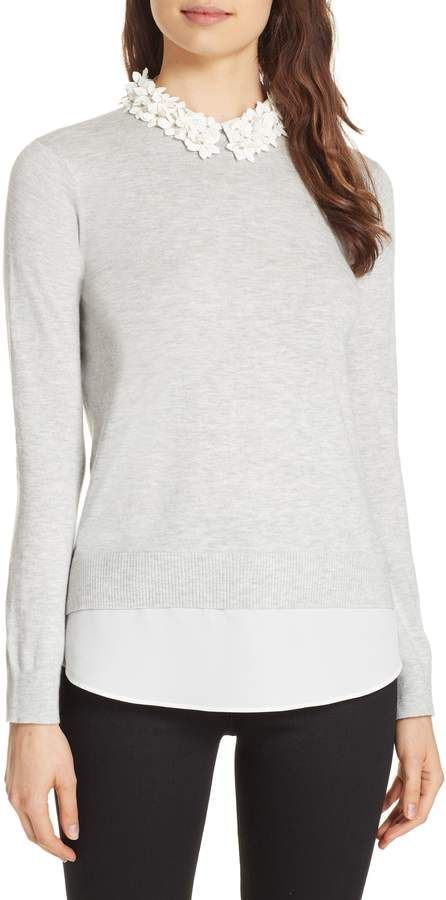9e1c0b9d53 Ted Baker Nansea Floral Collar Tiered Hem Sweater