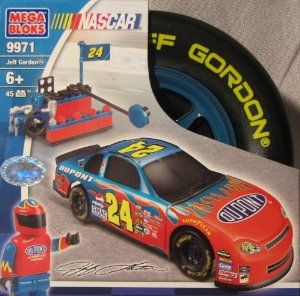 "Mega Bloks Nascar 9971 Jeff Gordon by Mega Brand. $19.25. Ages 6+ Contains 45 Pcs. Mega Bloks 9971. Nascar Jeff Gordon Mega Bloks Race Car Set. Mega Bloks Tire is Approx. 5"" H X 5""L. Can Be used With Nascar Mega Bloks sets 9972 9973 9974 (not Included). building blocks"