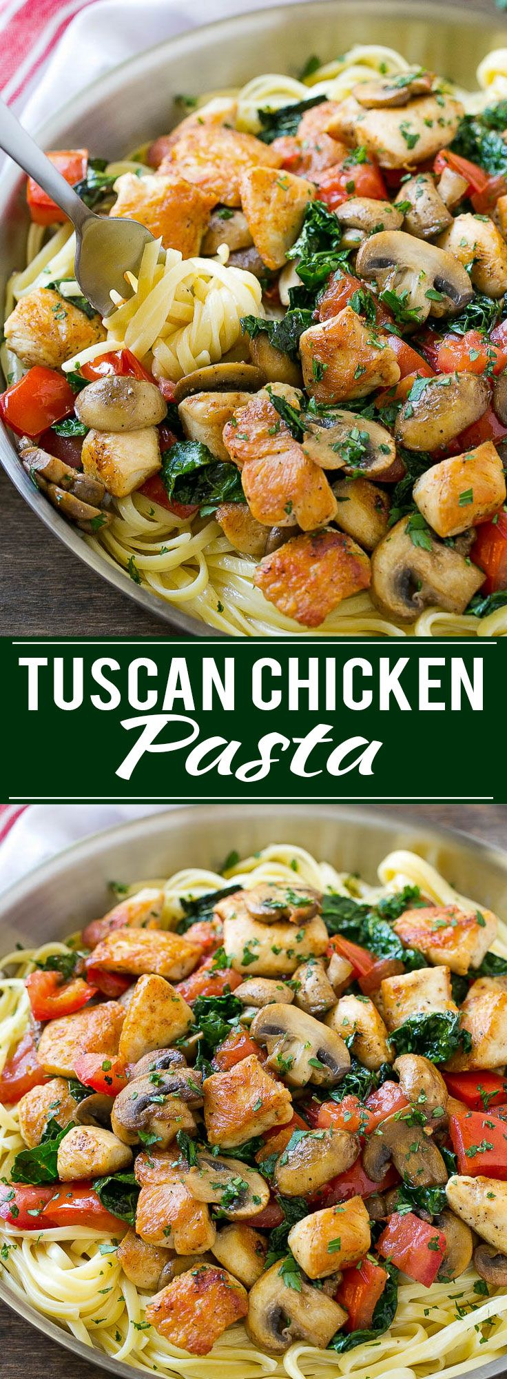 This recipe for Tuscan chicken pasta is creamy pasta topped with seared chicken, tomatoes, kale and mushrooms. An easy and hearty dinner that's ready in no time! More