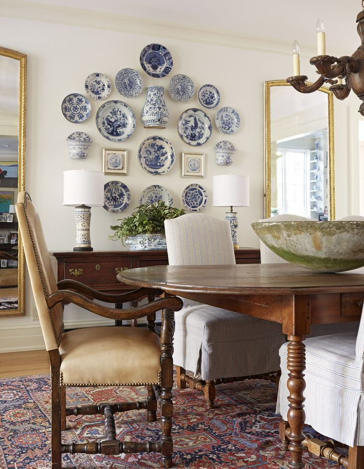 Delft collection on the dining room wall