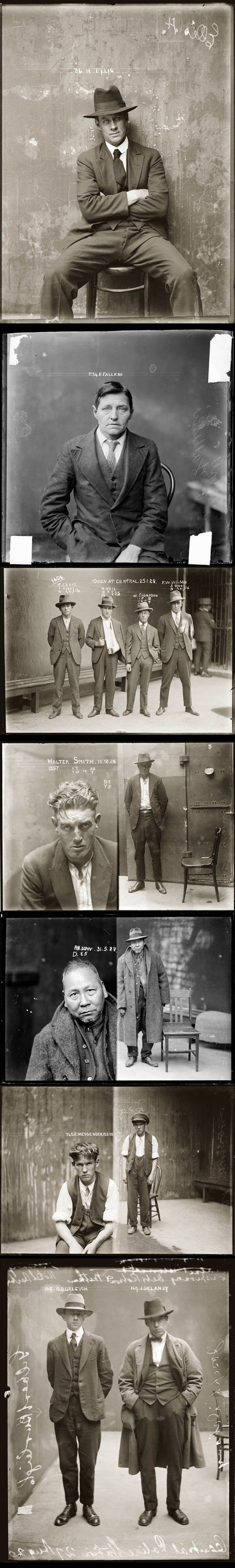 Police mugshots in the 1920s. Watch the baselines for text. Most would make awesome poses for guys though