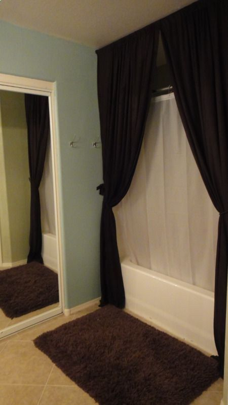 Bathroom: Shower curtains that are hung from the ceiling in front of actual curtain. looks so good!! - mod-home.co