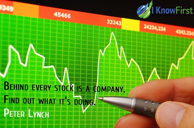"""""""Behind every stock is a company. Find out what it's doing"""" Peter Lynch Our newsletter is up -- Link in the bio #stockmarket #wallstreet #stocks #trading #iknowfirst"""
