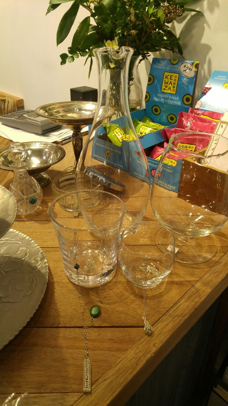 This is a grouping of glassware. Elizabeth felt this might look good with necklaces draped over the edges. She felt more modern glassware would look good for younger women. She thought a combination of modern and antique would be good. Modern = young. Antique = older women.