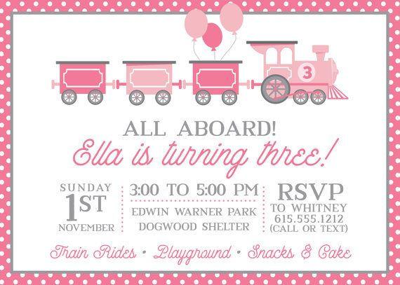 Train Birthday Party Invitation for girls Pink and by SwankyPress