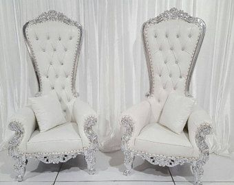 IN STOCK! Two Throne Chair Package w/ Silver Trim