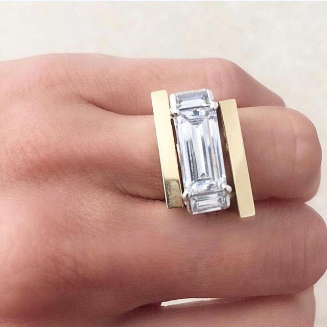 DIAMONDS   in love with this unique diamond and gold band by @alexandrajules ✨   #chosenbyoneday #chosen #wedding #bride #diamond #weddingring #ring #gold  #Regram via @chosenbyoneday