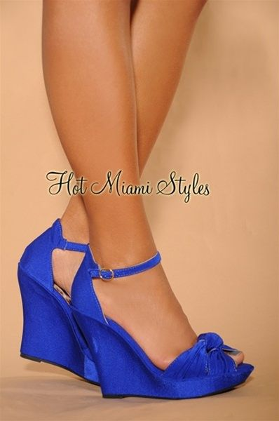 Royal-Blue Knotted Front Ankle Strap Wedge Sandals