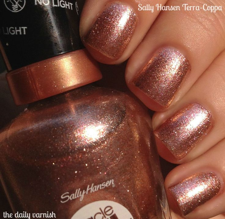 "Sally Hansen Miracle Gel in 'Terra-Coppa'...it's like Stila's ""Kitten"" eyeshadow, but for your nails. Gorgeous!!"