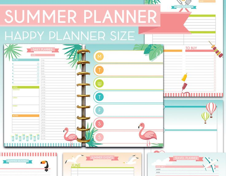 Happy planner inserts summer planner summer journal daily inserts week travel planner holiday reading journal june july august flamingo di FiloDelight su Etsy