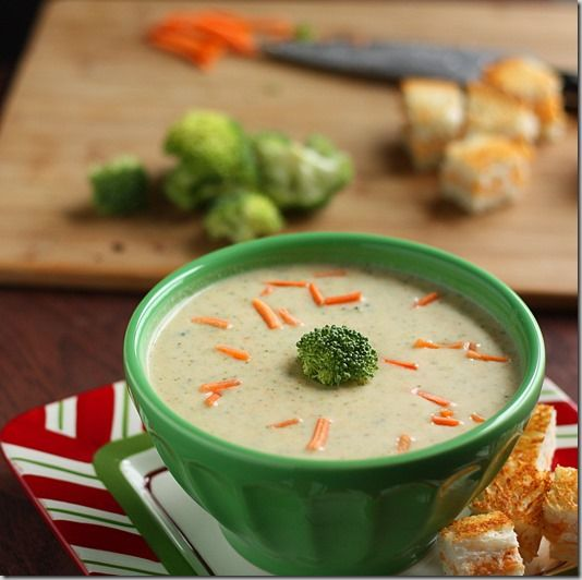 Gluten Free Broccoli Cheese Soup by Katrina Runs for Food. Good basis for a recipe, but not as creamy or flavorful as it could be. Next time, I'll add some cornstarch or GF flour as a thickener and perhaps a bit more cheese.