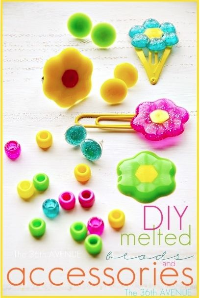 Things to do with melted pony beads! Make rings, hairclips, necklaces. use E6000 to glue on