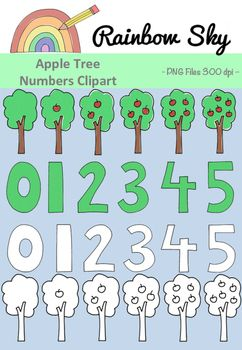 Teaching number 0 - 5? Need some variety?  Here are some apple trees clipart to help with counting up to 5. Perfect to use for creating worksheets or activity cards.   With a total of 12 pieces in the set it includes: •Numbers 0 - 5  •Apples tree withs 0 - 5 apples  Black line originals included.  All .PNG files saved at 300 dpi for clear printing, with transparent backgrounds. ~ Rainbow Sky Creations ~