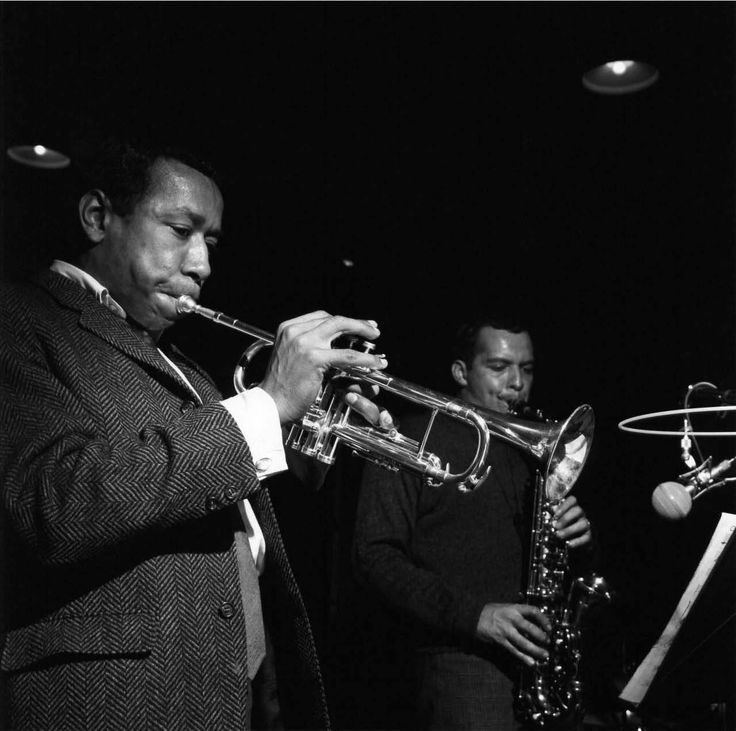 Lee Morgan and Jackie McLean at Morgan's Infinity recording session, Englewood Cliffs NJ, November 16 1965 (photo by Francis Wolff)