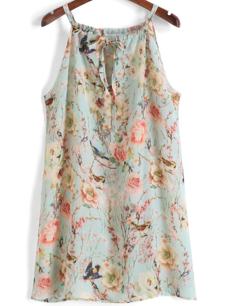 Spaghetti Strap Floral Chiffon Loose Dress