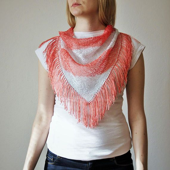 Pink Silver Hand Knitted Triangle Scarf / Salmon by RUKAMIshop