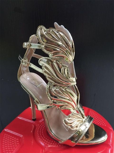 BAYUXSHU Summer Women High Heels Gold Winged Leaves Cut outs Stiletto Gladiator  Sandals Flame Party High heel Sandal Shoes Woman-in High Heels from Shoes  on ... 08f71c7c2e31