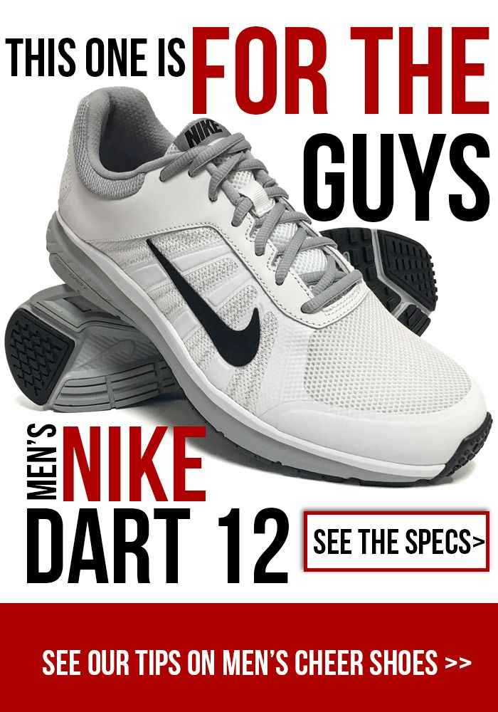 Men's Cheerleading shoes are not easy to find! The Nike Dart 12 for men are just the thing for your male cheerleaders