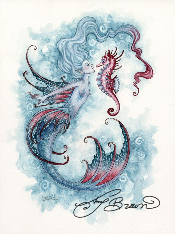 Art Print - Seahorse Crush by Amy Brown