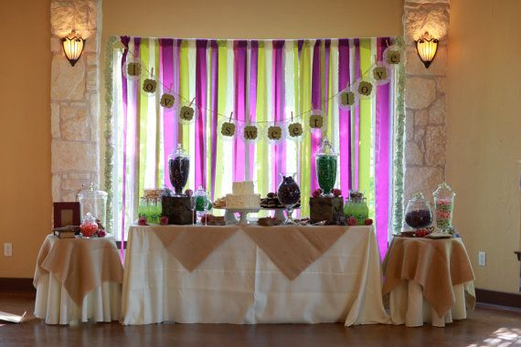 Custom Ribbon, Fabric, Burlap-Backdrop, Banner, Photo Booth Background-Featured on Wedding Chicks and The Knot Texas via Etsy