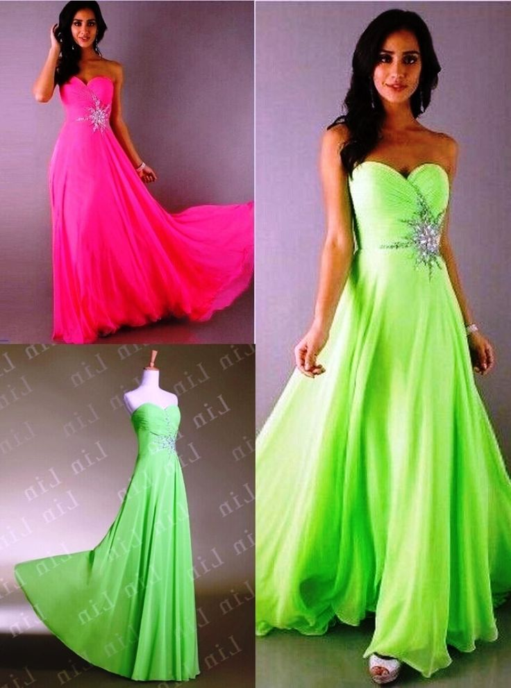 Lime Green And Hot Pink Bridesmaid Dresses