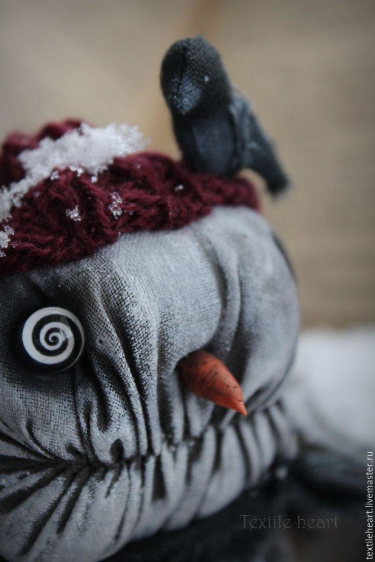 Купить Снеговик. - чёрно-белый, снеговик, Снег, Страшные игрушки, страшные куклы, чердачная кукла